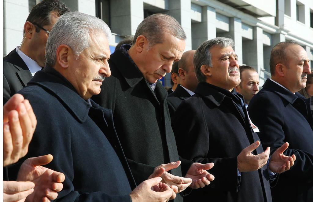 PM Yıldırım, President Erdoğan, former President Gül and FM Mevlüt Çavuşoğlu attending the funeral ceremony for the victims of Istanbul terror attacks at Police Department headquarters (AFP Photo)