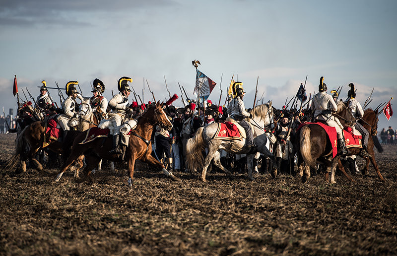 Historical re-enactment enthusiasts dressed as soldiers revive the Austerlitz battle scenes on Dec. 3, 2016 near Slavkov u Brna, Czech Republic. (AA Photo)