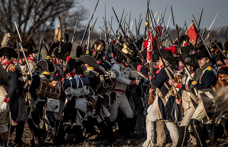 Historical re-enactment enthusiasts dressed as soldiers revive the Austerlitz battle scenes on Dec. 3, 2016 near Slavkov u Brna, Czech Republic. (AA Photo)
