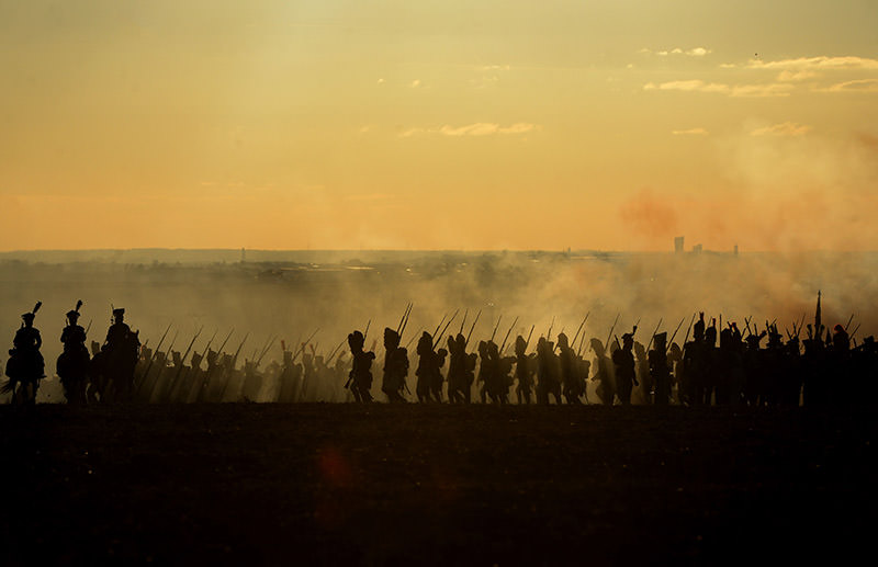 History enthusiasts dressed as soldiers take part in a re-enactment of Napoleon's 1805 Battle of Austerlitz near the South Moravian city of Slavkov. (AFP Photo)