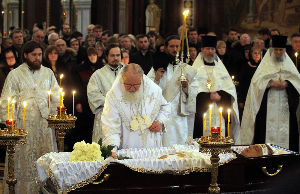 Russian Orthodox Church Patriarch Krill, third left, conducts a religious service for killed Russian ambassador to Turkey, Andrei Karlov inside the Christ the Saviour Cathedral in Moscow