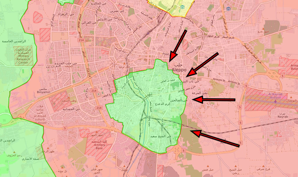Regime forces managed to drive opposition fighters out of the neighborhoods located east and south of the Aleppo citadel by Dec. 7.