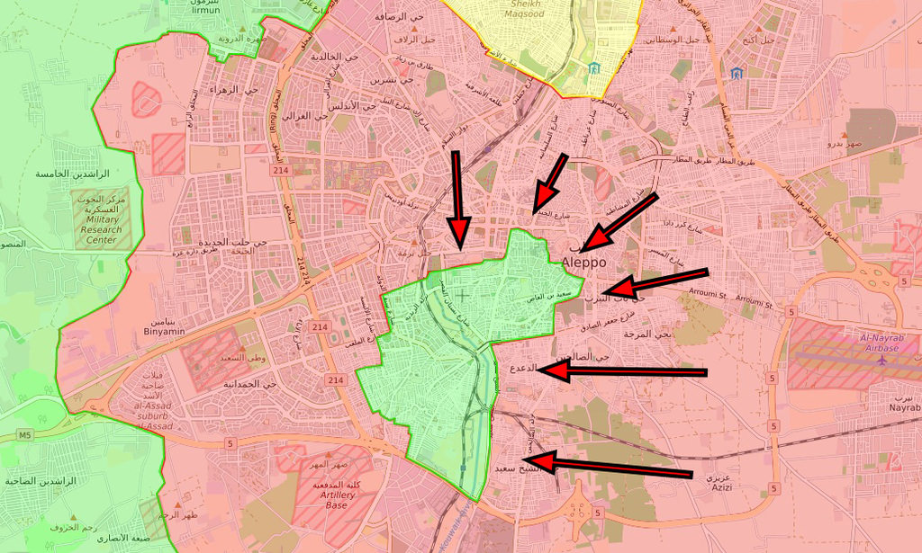 By Dec. 11, regime forces advanced into Sheikh Saeed district as opposition groups started retreating west of the Kouwalk River amid relentless regime bombing an shelling.
