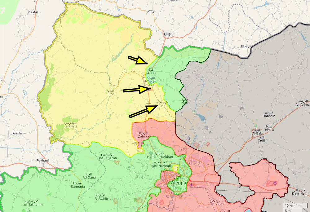 The PYD/YPG forces in Afrin also moved eastwards to opposition-held territory, capturing Menagh Air Base and the town of Tal Rifaat while pressuring Azaz, preventing an opposition counter attack.