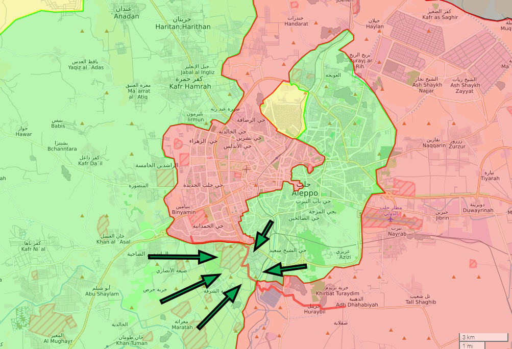Opposition fighters launched an attack to Ramouseh district and Artillery College in early August, managing to open a new supply route after fierce clashes and cut off regime's supply routes.