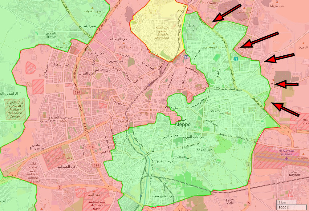 Opposition launched a large scale attack on w. Aleppo in late October, failing to make any gains amid staunch resistance by the regime, which launched its counter-offensive on e. Aleppo on Nov. 26.