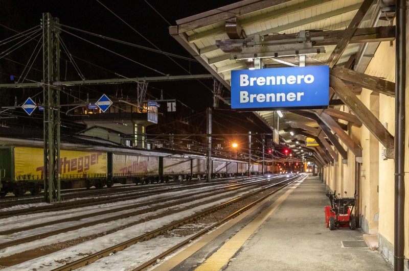 A view of the Brenner railway station at the border between Tyrol, Austria, and South Tyrol, Italy, seen from the Austria side on Feb. 23, 2020. (EPA Photo)