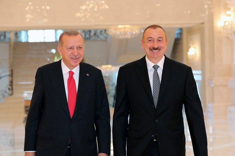 President Recep Tayyip Erdoğan (L) meets Azerbaijan's President İlham Aliyev in Baku, Oct. 14, 2019. (AA Photo)