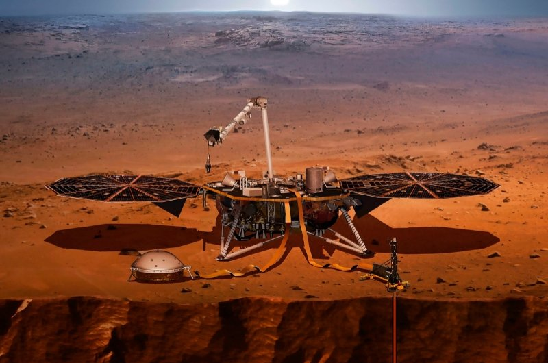 This handout file illustration obtained on April 27, 2018 shows NASA's Interior Exploration using Seismic Investigations, Geodesy and Heat Transport (InSight) which was launched on May 5, 2018 as part of NASA's first-ever mission to study the heart of Mars. (Image by NASA via AFP)