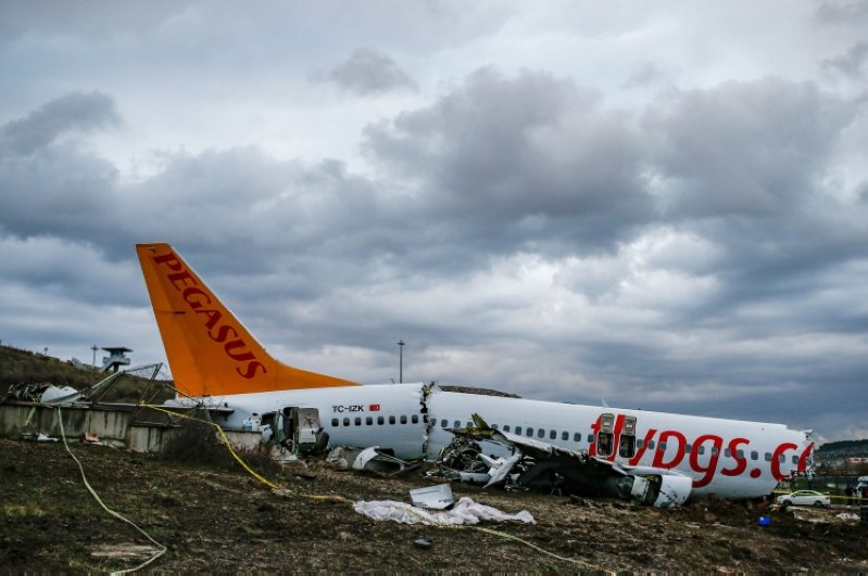 Workers prepare to remove the wreckage of a plane operated by Pegasus Airlines after it skidded Wednesday off the runway at Istanbul's Sabiha Gökçen Airport, in Istanbul, Friday, Feb. 7, 2020. (AP Photo)