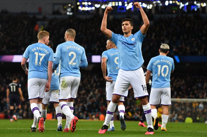 Manchester City's Rodri celebrates after scoring the opening goal against West Ham United at the Etihad Stadium, Feb. 19, 2020. (AFP Photo)