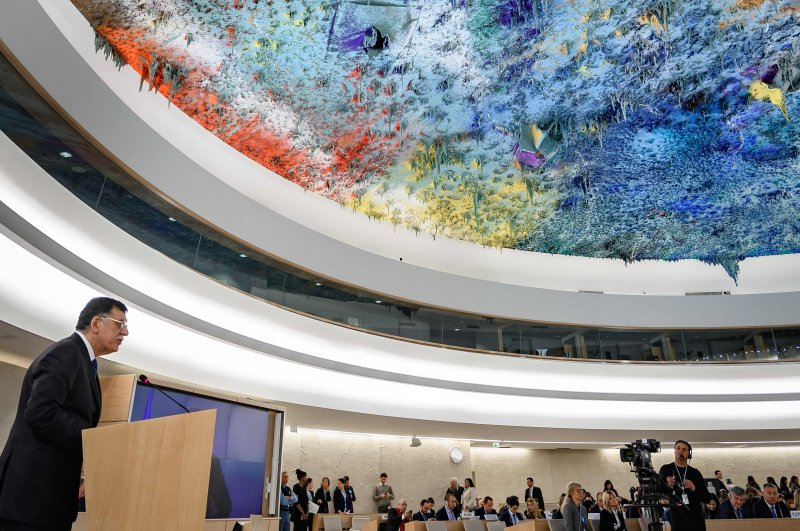 Libyan Prime Minister Fayez al-Sarraj delivers a speech at the U.N. Human Rights Council's main annual session in Geneva, Feb. 24, 2020. (AFP Photo)