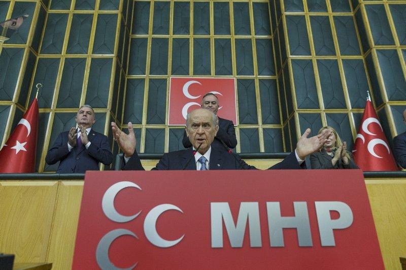 MHP Chairman Devlet Bahçeli addresses the party's parliamentary group on Feb. 25, 2020. (AA Photo)