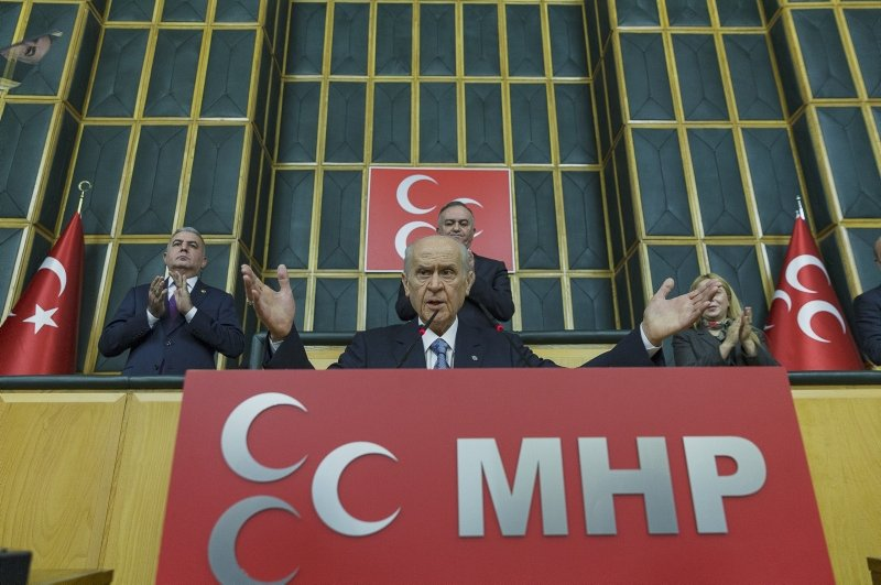 MHP Chairman Devlet Bahçeli addresses the party's parliamentary group on Feb. 25, 2020. (AA Photo)