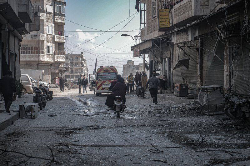 The Assad regime attacked civilian settlements, killing three and damaging several buildings, Feb. 25, 2020 (AA Photo)