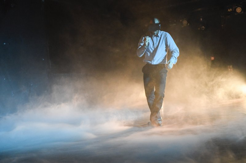 An artistic photo shows choreographer Evangelos Pulinas while dancing.