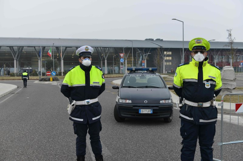 Policemen block access to Schiavonia hospital in Monselice, near Venice, Feb. 24, 2020. (AFP Photo)