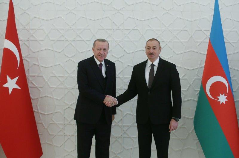 President Tayyip Erdoğan meets with his Azerbaijani counterpart İlham Aliyev in Baku, Azerbaijan, Feb. 25, 2020. (Reuters Photo)