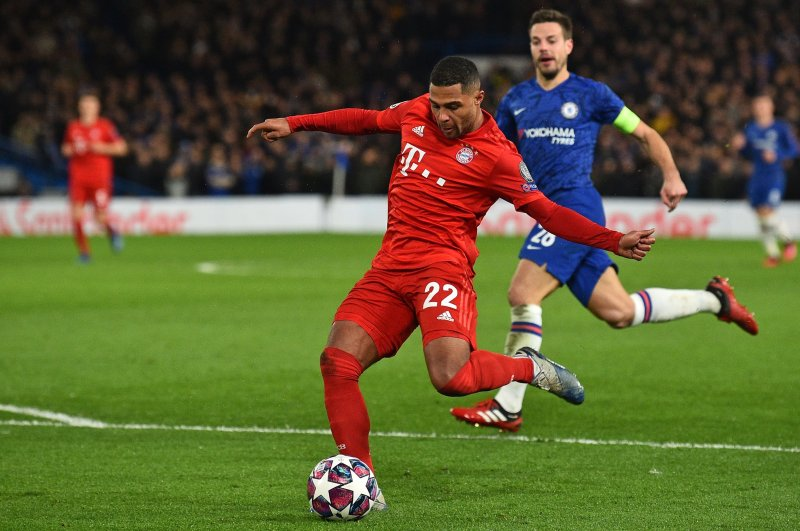 Bayern Munich's Gnabry shoots to score the second goal during the Champions League round of 16 match against Chelsea in London, Feb. 25, 2020. (AFP Photo)
