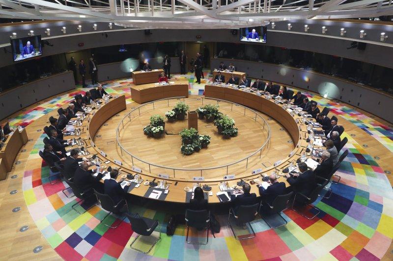 European Union leaders meet during an EU summit in Brussels, Feb. 21, 2020. (AP Photo)