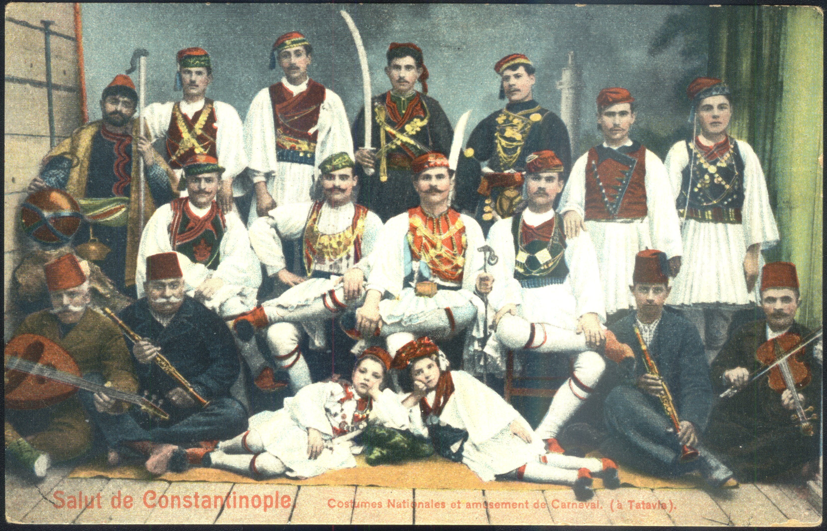 Post card shows traditionally dressed people in Istanbul's Kurtuluş neighborhood (Tatavla), during the Baklahorani Carnival in the 1930s. (FILE Photo)