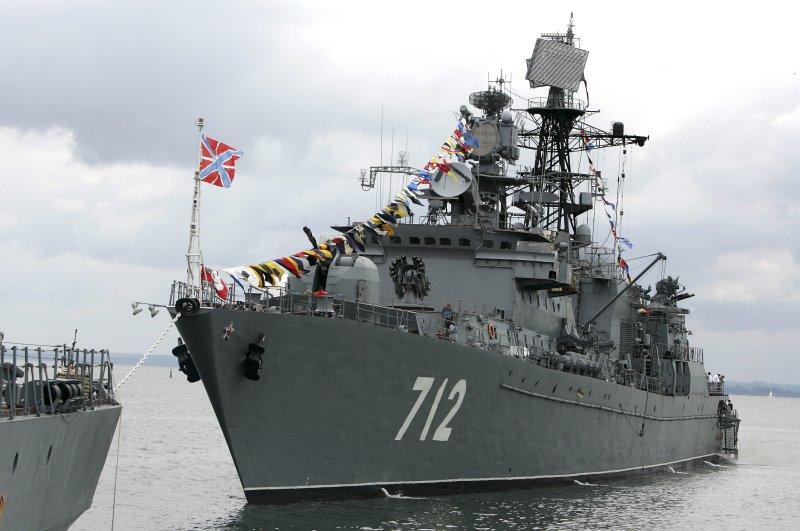 Russian missile frigate Neustrashimyin the Baltic Sea port of Baltiisk, Russia, July 30, 2006. (AP Photo)