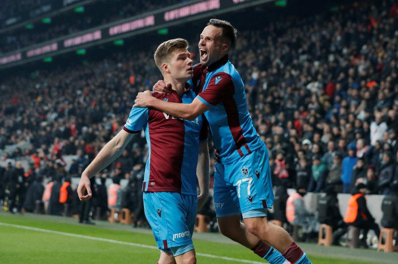 Trabzonspor's Alexander Sorloth and Filip Novak celebrate a goal against Beşiktaş, Istanbul, Feb. 22, 2020. (REUTERS Photo)