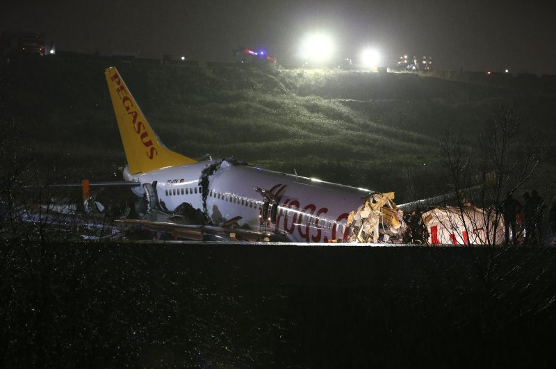 The wreck of a Pegasus Airlines Boeing 737 airplane lies in a ditch after it skidded off the runway upon landing at Sabiha Gökçen International Airport in Istanbul, Feb. 6, 2020.(AA Photo)
