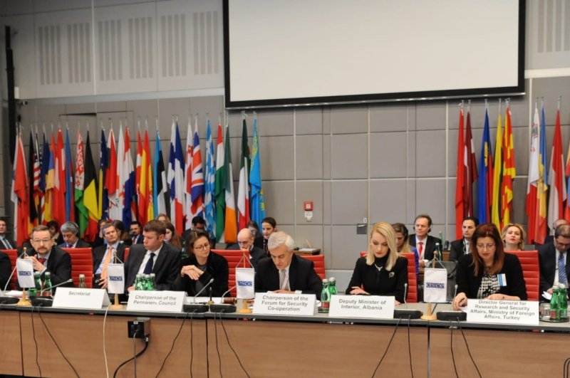 A meeting on the fight against terrorism was held in Vienna during the Organization for Security and Co-operation in Europe's (OSCE) Forum for Security and Cooperation (FSC) headed by Turkey, Feb. 27, 2020. (AA Photo)