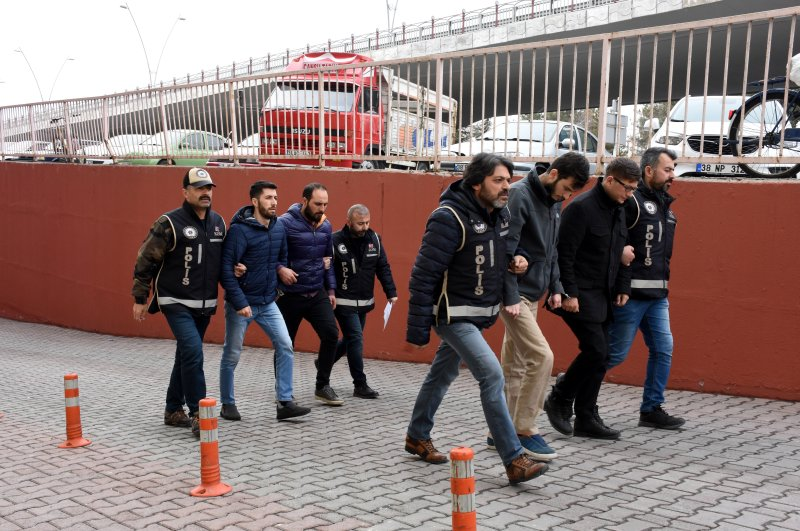Police escort four FETÖ suspects to the courthouse, Kayseri, Feb. 27, 2020. (AA Photo)