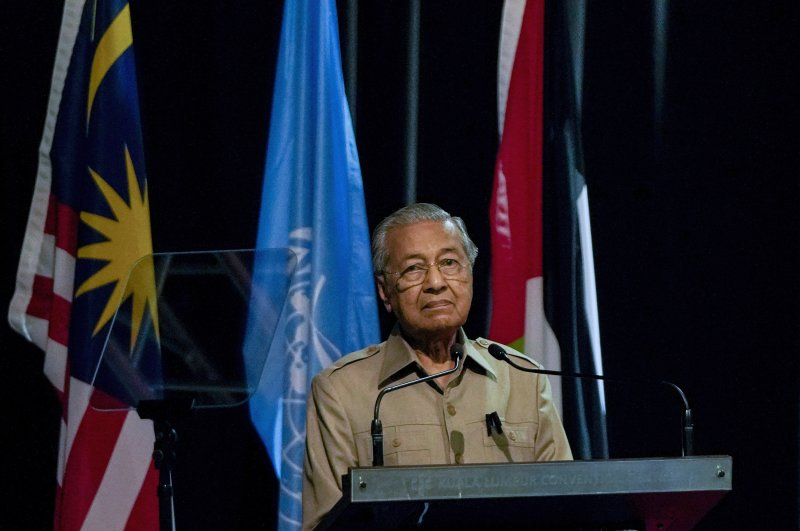Malaysia's Mahathir Mohamad pauses during a speech at the committee on the exercise of the inalienable rights of the Palestinian people, in Kuala Lumpur, Malaysia, Friday, Feb. 28, 2020. (AP Photo)