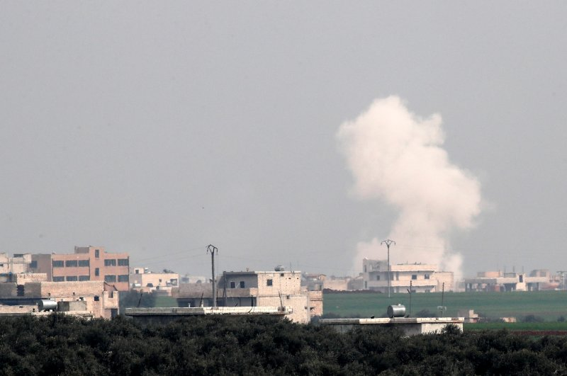 Smoke rises after an airstrike in Saraqib in Idlib province, Syria February 28, 2020. (Reuters Photo)