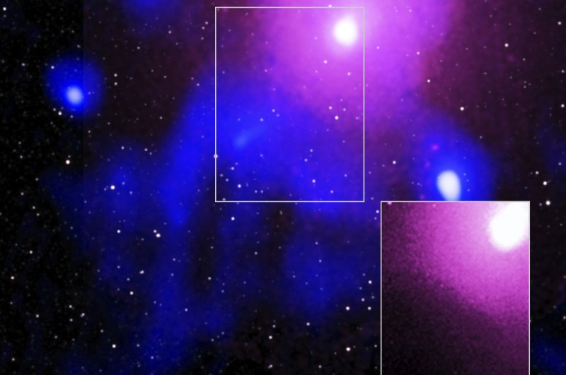 The Ophiuchus galaxy cluster viewed in a composite of X-ray, radio and infrared data, Feb. 27, 2020. (Caltech/NASA/NSF via AP)