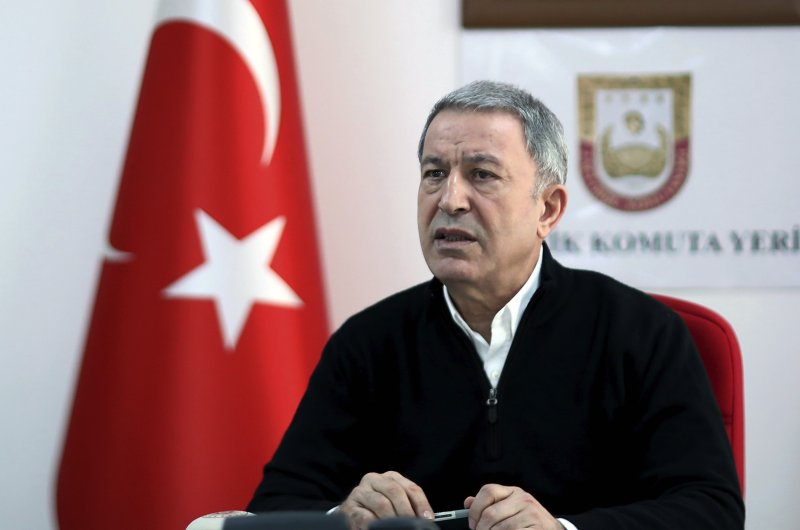 Turkish Defense Minister Hulusi Akar speaks at a military headquarters near the Syrian border in Hatay, Turkey, March 1, 2020. Akar said Turkey aimed to confront Syrian government forces rather than Russian troops. (AP Photo)