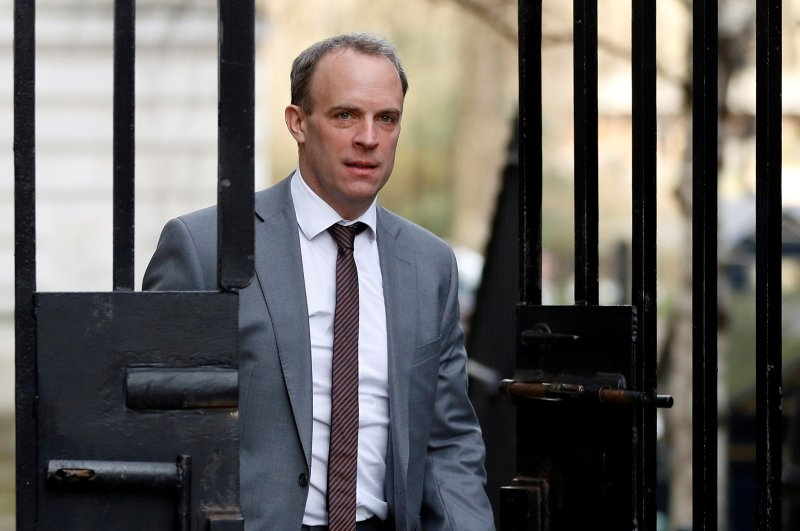 British Secretary of State for Foreign affairs Dominic Raab is seen outside Downing Street in London, Feb. 14, 2020. (REUTERS Photo)
