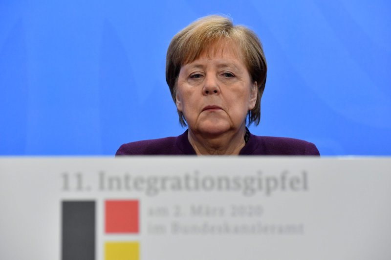 German Chancellor Angela Merkel attends a press conference at the end of a summit on integration at the Chancellery in Berlin on March 2, 2020. (AFP Photo)