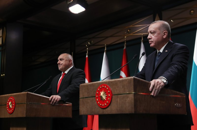 Bulgarian Prime Minister Boyko Borisov (L) and President Recep Tayyip Erdoğan during the news conference on March 2, 2020, at the Presidential Complex in Ankara. (AA Photo)