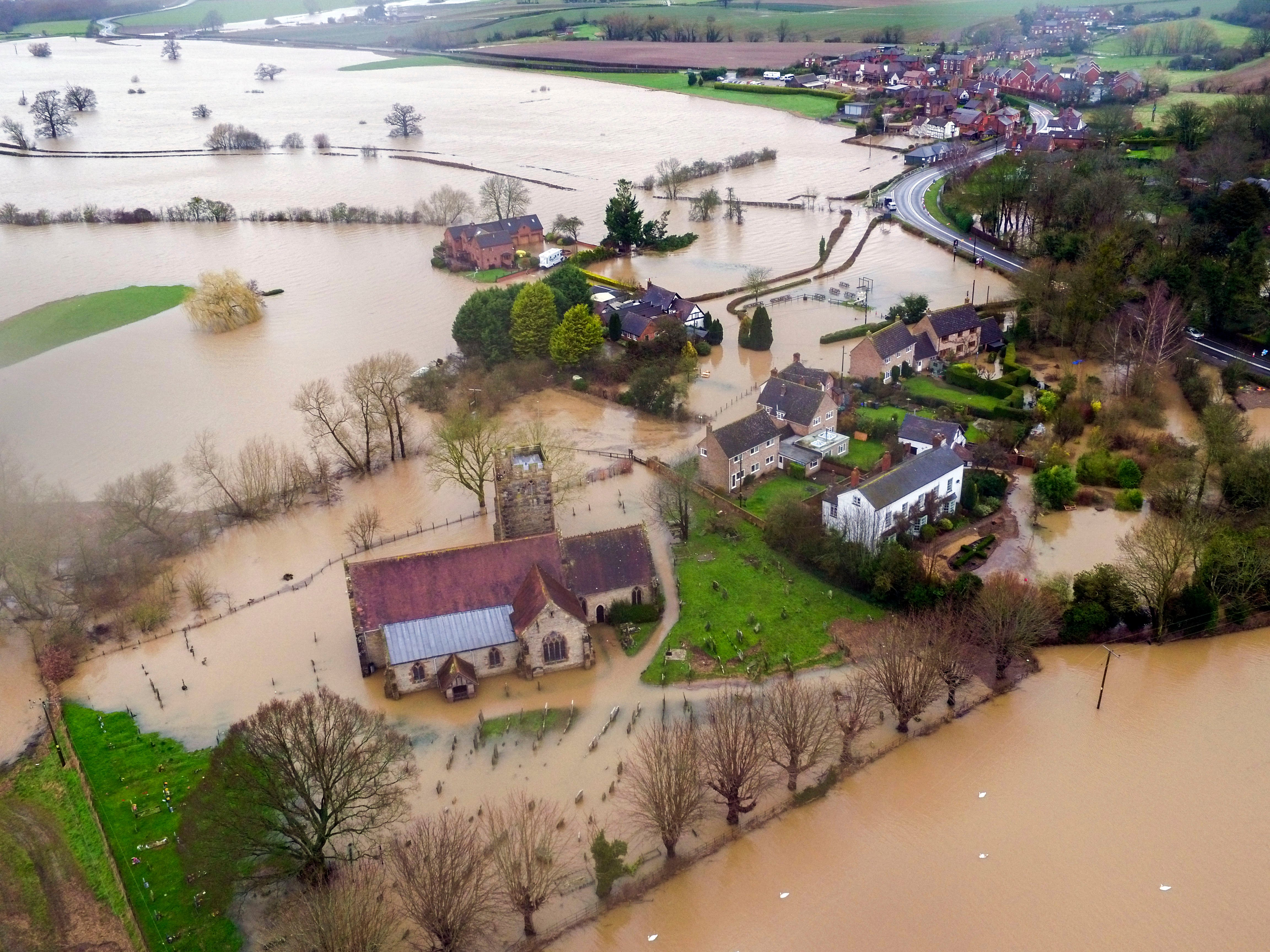 Flood water continues to surround Severn Stoke in Worcestershire, in the aftermath of Storm Dennis. (REUTERS Photo)