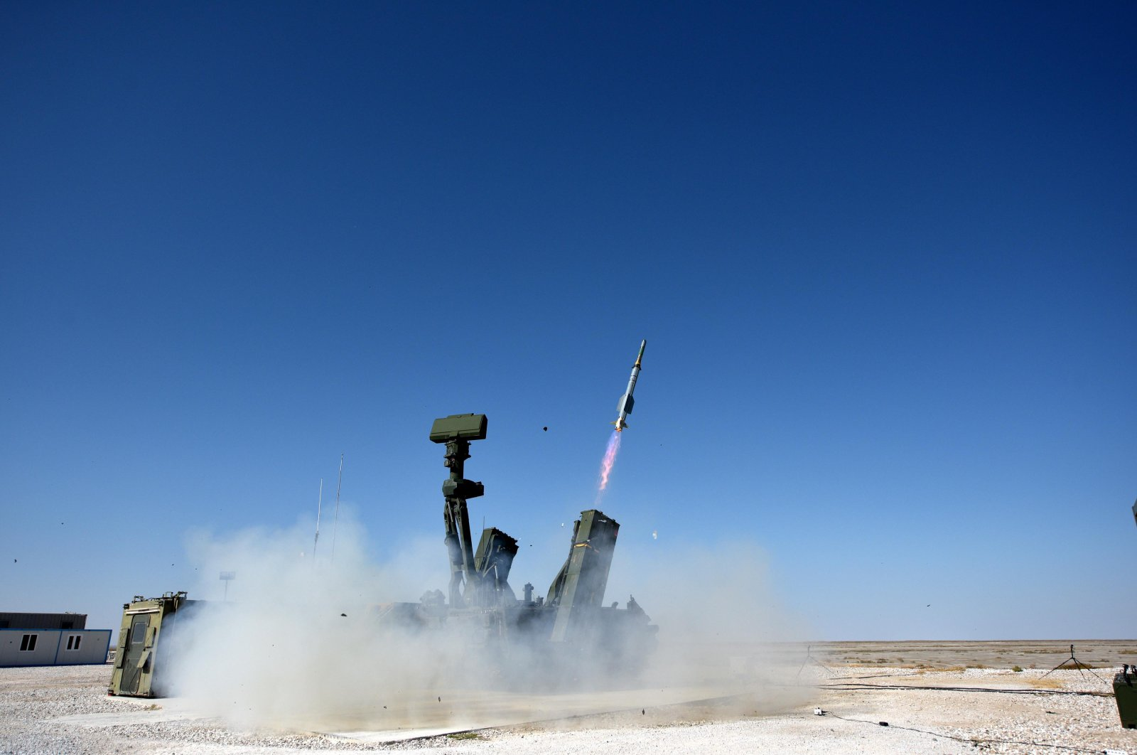 A file photo from the tests of the domestic low-altitude Hisar-A air defense system at the Defense Industries' complex in central Turkey's Aksaray province, Oct. 12, 2019. (DHA Photo)