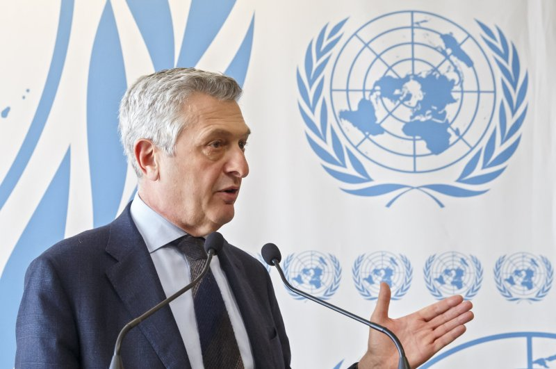 Filippo Grandi, UN High Commissioner for Refugees, speaks to the media during a press conference in Geneva, Switzerland, Tuesday, March 3, 2020. (AP Photo)