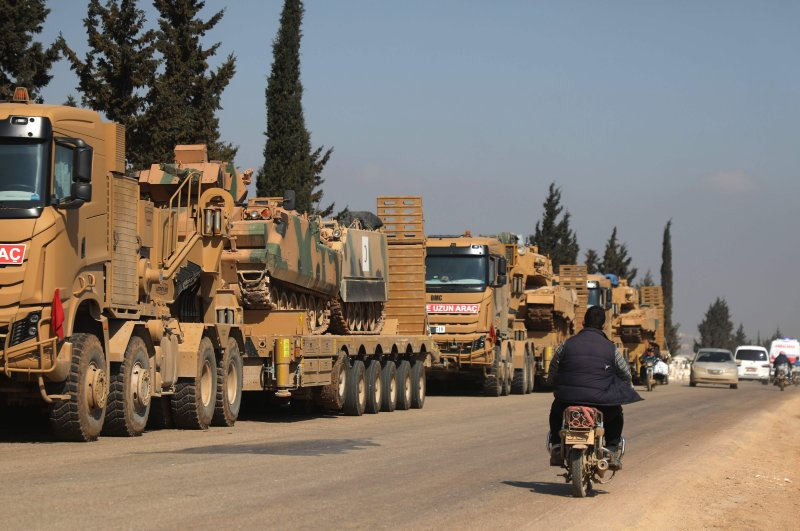 A convoy of Turkish military vehicles is pictured near the town of Hazano in the rebel-held northern countryside of Syria's Idlib province, March 3, 2020. (AFP)