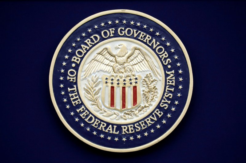 The Federal Reserve seal is seen during Chairman Jerome Powell news conference following the two-day meeting of the Federal Open Market Committee (FOMC) meeting on interest rate policy in Washington, U.S., Jan. 29, 2020. (Reuters Photo)