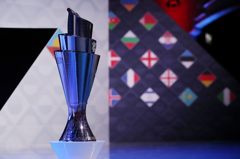 The UEFA Nations League trophy on display before the tournament's draw at the Beurs van Berlage Conference Center, Amsterdam, March 3, 2020. (Reuters Photo)