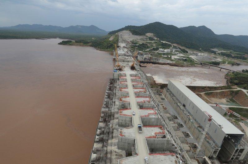 Ethiopia's Grand Renaissance Dam is seen as it undergoes construction work on the river Nile in Guba Woreda, Benishangul Gumuz Region, Ethiopia September 26, 2019. Picture taken September 26, 2019. (Reuters Photo)
