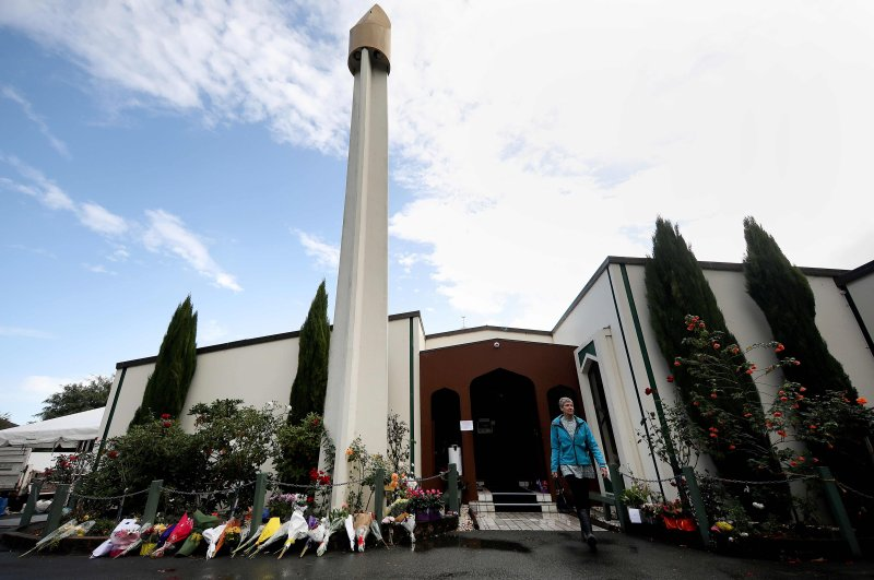 A visitor leaves the Al Noor Mosque, one of the mosques where 50 people were killed by a self-avowed white supremacist on March 15, 2019. (AFP Photo)