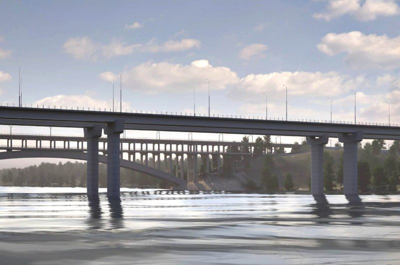 A digital rendering of the bridge that will be constructed across Dnipro River in Zaporizhia, March 3, 2020. (Photo courtesy of State Agency of Automobile Roads of Ukraine)