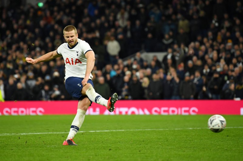 Tottenham Hotspur's Eric Dier scores a penalty during a shootout after the match against Norwich City in London, March 4, 2020. (Reuters Photo)