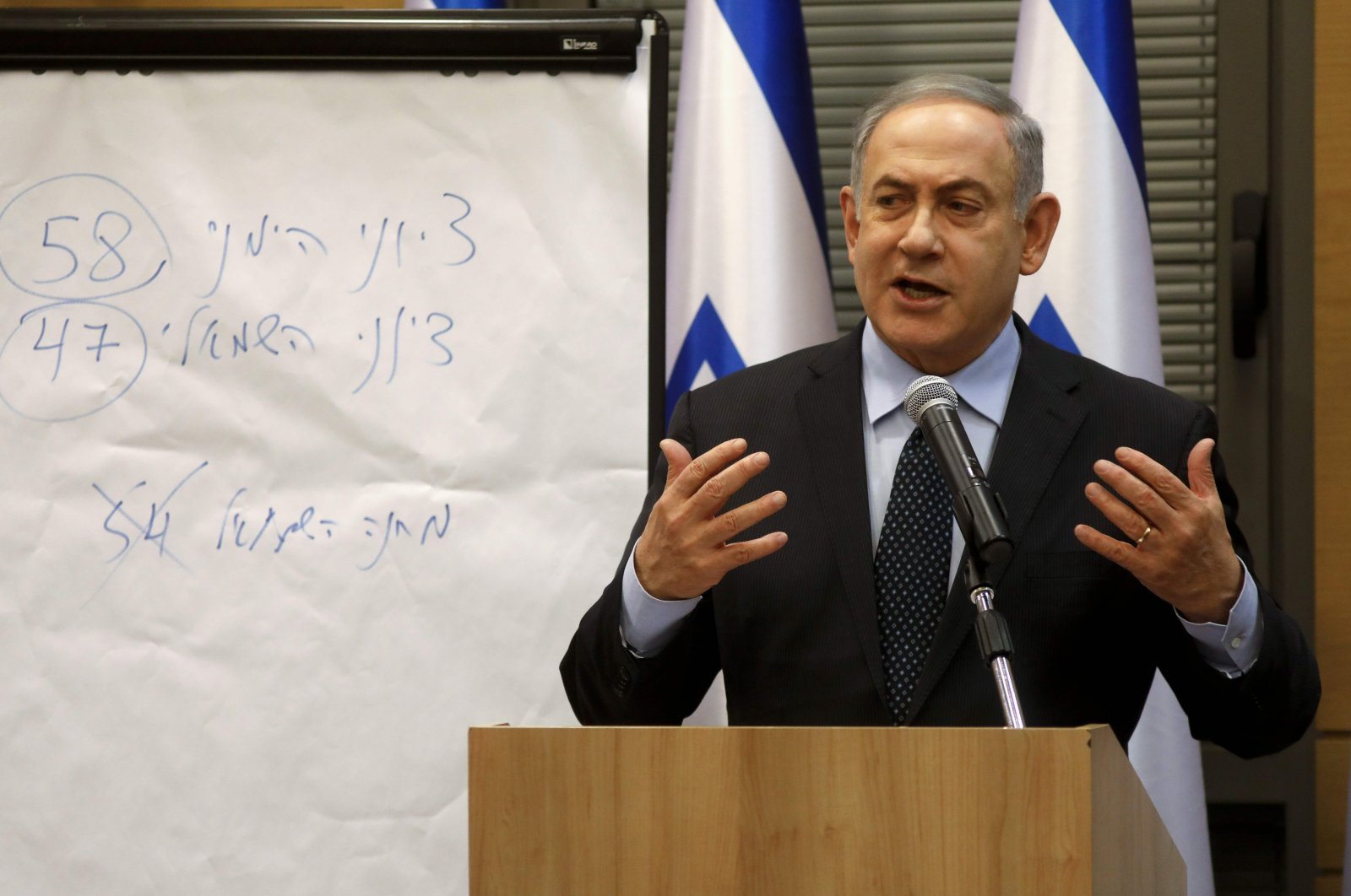 Israeli Prime Minister Benjamin Netanyahu speaks during a meeting of Israel's right-wing bloc at the Knesset, Jerusalem, March 4, 2020. (AFP Photo)