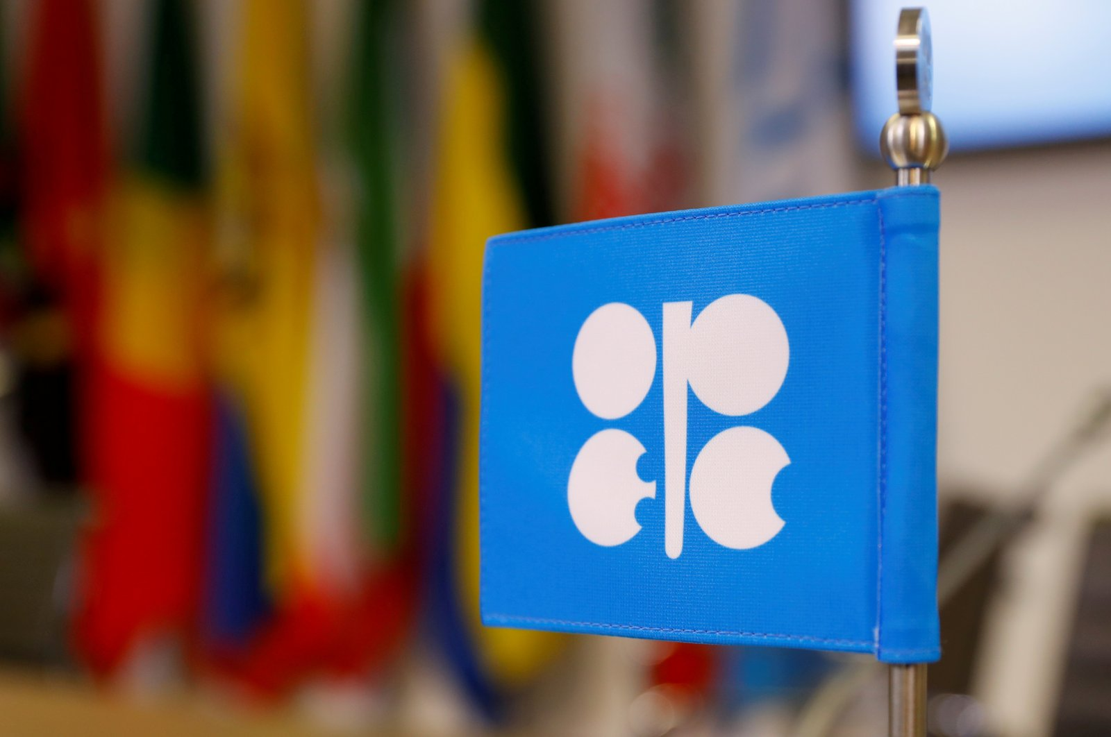 The logo of the Organization of the Petroleum Exporting Countries (OPEC) on a flag at the oil producer group's headquarters in Vienna, Austria, Dec. 7, 2018. (Reuters Photo)