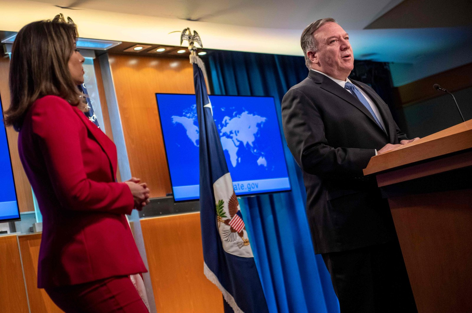U.S. Secretary of State Mike Pompeo delivers remarks to the media, in the Press Briefing Room, at the Department of State in March 5, 2020 in Washington D.C. (AFP Photo)